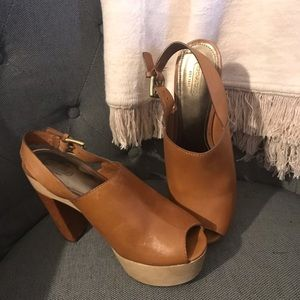 Tan and brown coach shoes